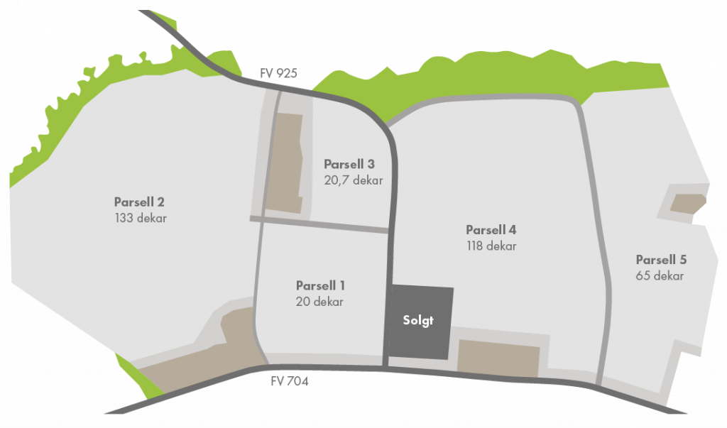 Oversikt over de 5 parsellene i Vassfjellet Næringspark